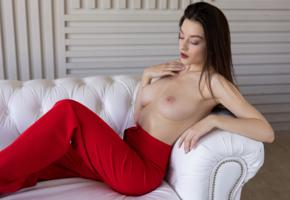 vanda may, brunette, topless, tits, nipples, red trousers, sofa, boobs, big tits