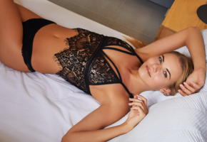 nordica, long hair, lingerie, smile, tanned, bed, black lingerie, black panties, panties