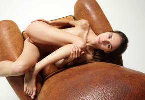 leona mia, leona a, model, brunette, smile, sweet, pussy, shaved pussy, legs, armchair, nude