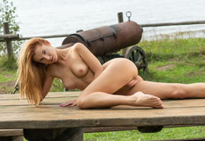 ingrid, leanne, redhead, outdoors, table, naked, boobs, tits, nipples, shaved pussy, puffy pussy, labia, ass, spread legs, hi-q