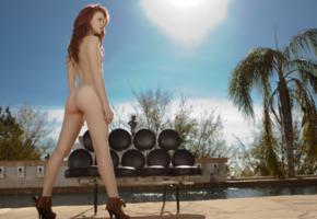 elle alexandra, ass, nude, legs, redhead, back, heels