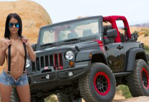 unknown model, brunette, car, jeep, semi naked, side boobs, denim shorts, suspenders, sunglasses, tanned, hi-q
