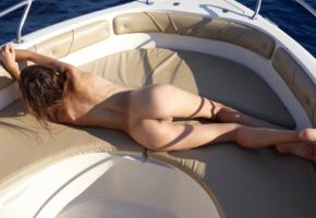alice, model, brunette, back, pussy, shaved pussy, labia, anus, legs, beautiful legs, soles, motorboat, ocean, sea, outdoors, nude
