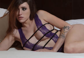 kylie maira, american, t-girl, trans, shemale, lingerie, inked, sfw, boobs, tits