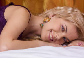 elizaveta, alluring, blonde, blue eyes, pretty face, lingerie, smile