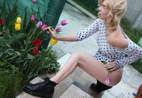 scarlet, blonde, pale skin, field, outdoors, flowers, tulips, legs, hips