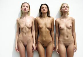 marika, maria ryabushkina, ariel, wall, naked, boobs, tits, nipples, shaved pussies, labias, tattoo, ultra hi-q