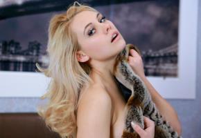 adenorah, blonde, eye contact, earrings