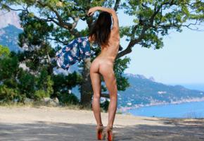 aleksandrina, skinny, black hair, nude, outdoors, erotic, tan lines, ass, back, sea, high heels