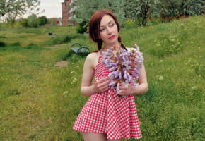 night a, redhead, dress, field, outdoors, skirt, non nude, agatha night