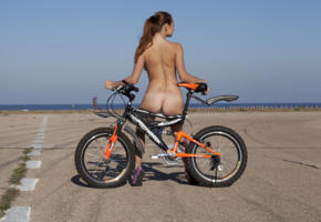 mishel c, brunette, nude, bike, erotic, outdoors, tan lines, ass, back, tanned, bicycle