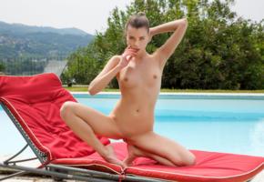 valerie a, brunette, pool, lounge, naked, boobs, tits, nipples, shaved pussy, labia, spread legs, hi-q, aleksa slusarchi
