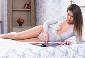 zelda b, lingerie, natural charme, white lingerie, brunette, bed, legs, tits, sexy