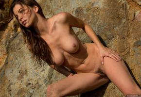 amber sym, tits, pussy, sand, boobs, big tits, nipples, nude, sexy, trimmed pussy, labia, tanned