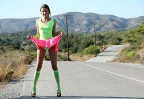 maria ryabushkina, maria, flashing, upskirt, outdoor, stockings, heels, road, thigh gap, power pole