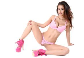 darcia lee, model, brunette, sexy, boobs, breasts, lingerie, bra, panties, pink panties, pussy, labia