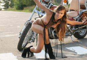 freya a, bike, motorcycle, long hair, boots, boobs, tits, puffy nipples, nipples, smile