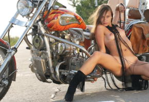 freya a, bike, motorcycle, long hair, boots, boobs, tits, puffy nipples, nipples, tan lines
