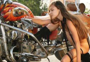 freya a, bike, motorcycle, long hair, boots