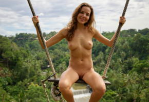 clover, ubud bali swing, nude, mango a, katya clover, tanned, swing, bali, indonesia, ubud, boobs, tits, nipples, shaved pussy, pussy, labia, smile