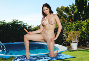 malena, malena fendi, black hair, babe, nude, pool, erotic, outdoors, shaved, boobs, tits, nipples, wet, shaved pussy, pussy, labia