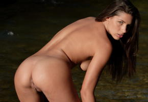 adriana, beach, nude, tanned, brunette, sea, boobs, big tits, shaved pussy, pussy, labia, ass, anus, doggy