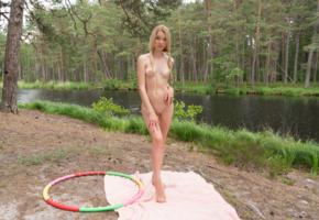 tiffany, blonde, outdoors, river, hula hoop, naked, tanlines, boobs, tits, nipples, shaved pussy, ultra hi-q