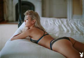 michelle rizo, blonde, bed, earrings, non nude, ass, tanned, lingerie, panties, bra