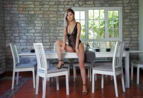 eva elfie, blonde, pretty, sexy girl, non nude, high heels, table, fishnet, lingerie, black lingerie