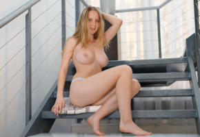 delizi, busty, blonde, pale skin, expose, big tits, panties, stairs, smile, boobs, legs, topless
