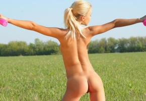 angela, marina c, blonde, tanned, nude, grass, outdoors, ass, back