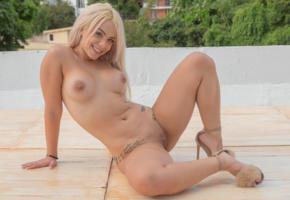 chichi yovana, blonde, outdoors, naked, boobs, big tits, nipples, shaved pussy, labia, spread legs, tattoo, high heels, smile, hi-q