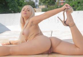 chichi yovana, blonde, outdoors, naked, boobs, big tits, nipples, pussy, labia, meat curtains, spread legs, high heels, tattoo, hi-q