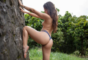 clarisse, sexy, latina, thong, outdoors, ass, exotic, panties, legs, topless, tits, nude, tanned, brunette