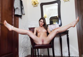 victory, shaved, brunette, babe, spreading legs, erotic, pussy, labia, shaved pussy, tits, boobs, nipples, skinny