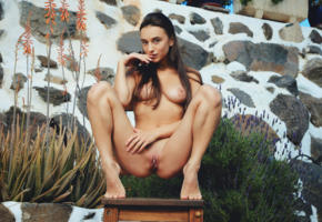 gloria sol, busty, brunette, nude, backyard, big tits, large areolas, shaved, shaved pussy, pussy, labia, tits, boobs, nipples, tanned
