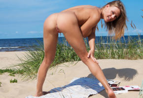 violla b, nude, sexy, 4k, ass, pussy, smile, tanned, labia, shaved pussy, beach, sea, anus, legs