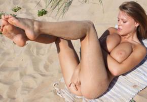 violla b, nude, sexy, 4k, pussy, boobs, big tits, nipples, tanned, beach, sea, legs up, ass, feet