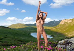 katya clover, clover, mango, caramel, mango a, brunette, hills, lake, flowers, naked, boobs, tits, nipples, shaved pussy, labia, smile, hi-q