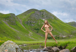 katya clover, clover, mango, caramel, mango a, brunette, outdoors, hills, creek, rock, naked, tanned, boobs, tits, nipples, shaved pussy, spread legs, smile, hi-q