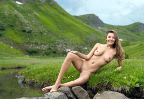 katya clover, clover, mango, caramel, mango a, brunette, outdoors, creek, tanned, naked, boobs, tits, nipples, shaved pussy, labia, spread legs, smile, hi-q