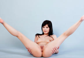 zelda b, sexy, nude, 4k, spread, pussy, brunette, smile, spreading legs, shaved pussy, labia, boobs, tits, nipples, ass, anus
