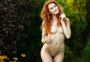 adel c, pussy, sexy, 4k, nude, redhead, shaved pussy, labia, boobs, big tits, smile, heidi romanova, heidi r, vanessa