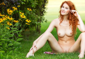 adel c, pussy, sexy, 4k, spread, nude, redhead, grass, shaved pussy, boobs, big tits, nipples, spreading legs, smile