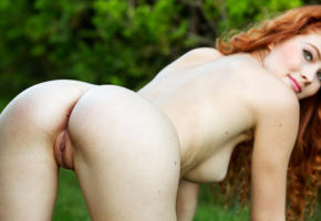 adel c, pussy, sexy, 4k, ass, boobs, nude, redhead, grass, shaved pussy, labia, big tits, doggy, smile