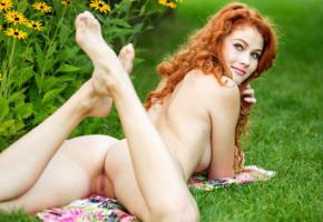 ass, legs, adel c, pussy, sexy, 4k, nude, redhead, grass, shaved pussy, labia, spreading legs, smile, heidi romanova, vanessa, heidi r