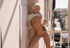 elsa jean, elsa dream, molly, blonde, outdoors, naked, boobs, small tits, nipples, shaved pussy, labia, meat curtains, tattoo