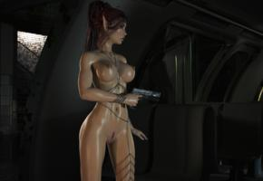 girl, elf, fantasy, tits, gun, 3d graphics, trimmed pussy, pussy, boobs, big tits, oiled