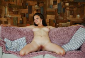 ella green, naked, shaved pussy, labia, pussy, boobs, big tits, brunette