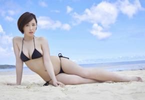sara oshino, asian, beach, bikini, sea, short hair, busty, sexy